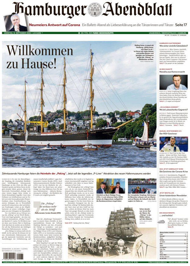 Titelseite vom Hamburger Abendblatt, 08.09.2020